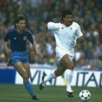 Ruud Gullit of AC Milan and Dan Petrescu of Steaua Bucharest